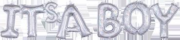 It's A Boy Script Silver Holographic 35in/88cm