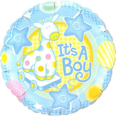 It's A Boy Soft Giraffe Foil Round 18in/45cm
