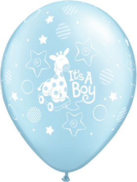 Its a Boy Soft Giraffe Pearl Light Blue Latex Round 11in/27.5cm