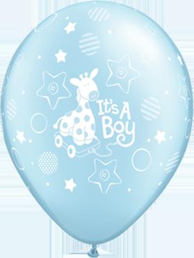 Its a Boy Soft Giraffe Pearl Light Blue Latex Round 11in/27.5cm