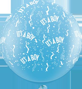 It's A Boy Standard Pale Blue Latex Round 36in/90cm