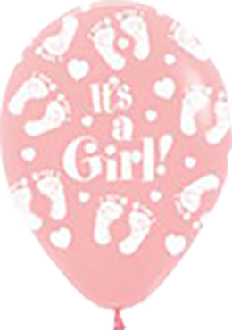 It's A Girl Footprint Pink Latex Round 5in/12.5cm