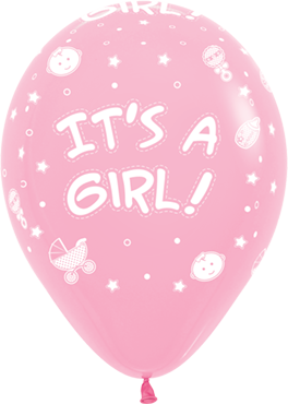 It's A Girl Pastel Pink Latex Round 11in/27.5cm