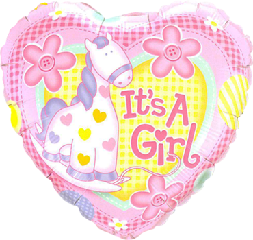 It's A Girl Soft Pony Foil Heart 18in/45cm
