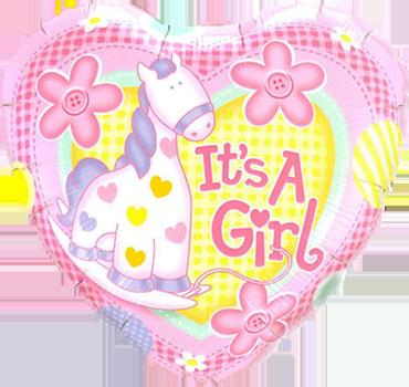 It's A Girl Soft Pony Foil Heart 9in/22.5cm