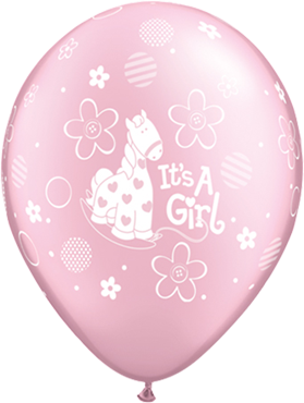 Its a Girl Soft Pony Pearl Pink Latex Round 11in/27.5cm