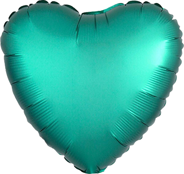 Jade Satin Luxe Foil Heart 17in/43cm