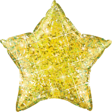 Jewel Yellow Holographic Foil Star 20in/50cm