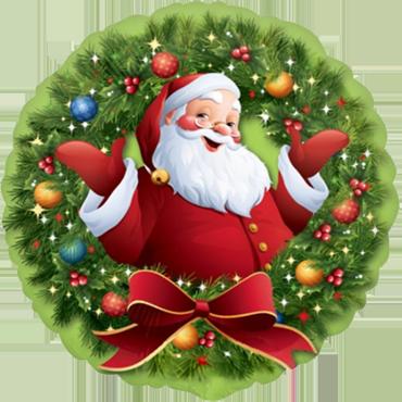 Jolly Santa in Wreath Foil Round 18in/45cm