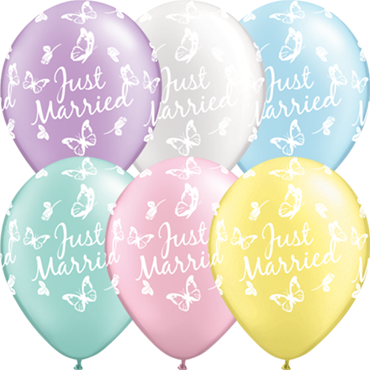 Just Married Butterflies Pearl Mint Green, Pearl Lavender, Pearl Pink, Pearl Lig