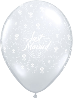 Just Married Flowers Crystal Diamond Clear (Transparent) Latex Round 16in/40cm