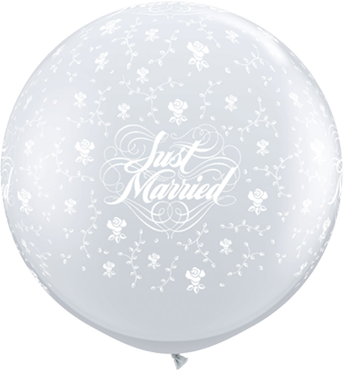 Just Married Flowers Crystal Diamond Clear (Transparent) Latex Round 36in/90cm