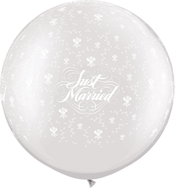 Just Married Flowers Pearl White Latex Round 30in/75cm