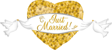 Just Married Heart and Doves Foil Shape 41in/104cm x 21in/55cm