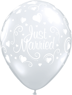 Just Married Hearts Crystal Diamond Clear (Transparent) Latex Round 11in/27.5cm