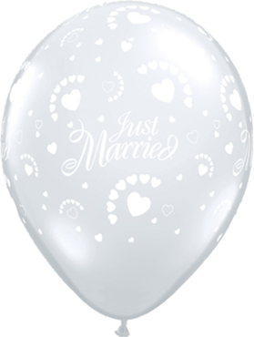 Just Married Hearts Crystal Diamond Clear (Transparent) Latex Round 16in/40cm