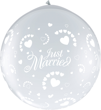 Just Married Hearts Crystal Diamond Clear (Transparent) Neck Up Latex Round 36in