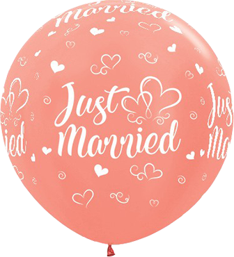 Just Married Hearts Metallic Rose Gold Latex Round 36in/90cm