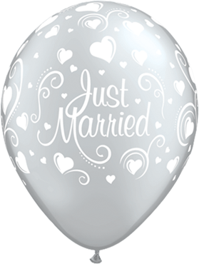 Just Married Hearts Metallic Silver Latex Round 11in/27.5cm