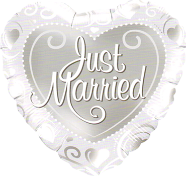 Just Married Hearts Silver Foil Heart 18in/45cm