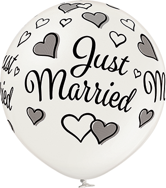 Just Married Metallic Pearl Latex Round 24in/60cm