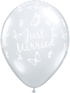 Just Married Roses and Butterflies Crystal Diamond Clear (Transparent) Latex Round 11in/27.5cm