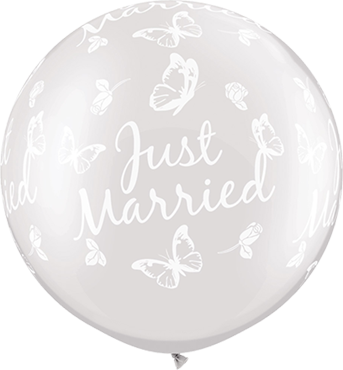 Just Married Roses and Butterflies Pearl White Latex Round 36in/90cm