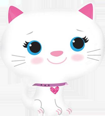Kitten - White Vendor Foil Shape 17in/43cm x 20in/51cm
