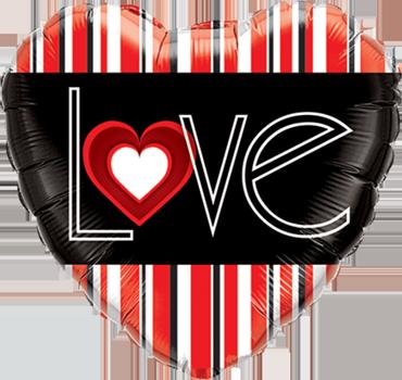 L(Heart)VE Red Stripes Foil Heart 18in/45cm