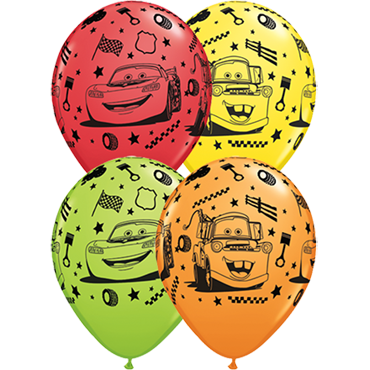 Lightning McQueen and Mater Standard Red, Standard Orange, Fashion Lime Green and Standard Yellow Assortment Latex Round 11in/27.5cm