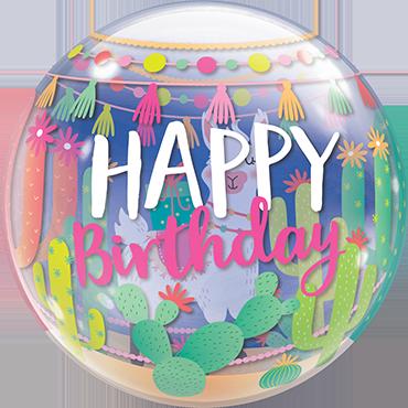 Llama Birthday Party Single Bubble 22in/55cm