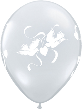 Love Doves Crystal Diamond Clear (Transparent) Latex Round 16in/40cm