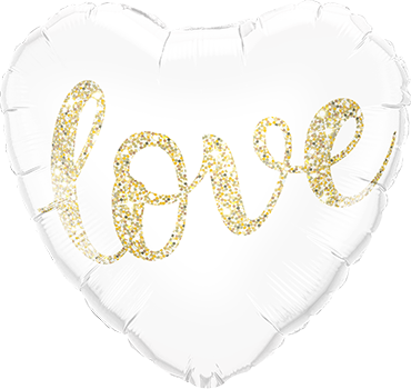 Love Glitter Gold Foil Heart 18in/45cm