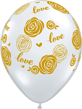 Love Roses Crystal Diamond Clear (Transparent) Latex Round 11in/27.5cm