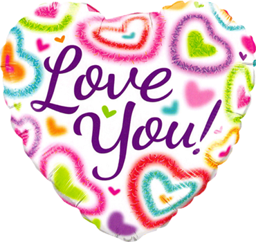 Love You! Fuzzy Heart Foil Heart 18in/45cm
