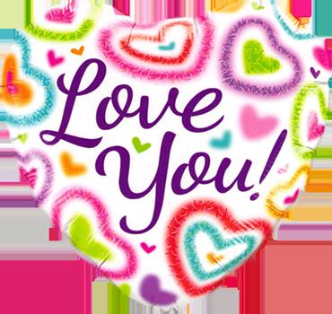 Love You! Fuzzy Heart Foil Heart 18in/45cm