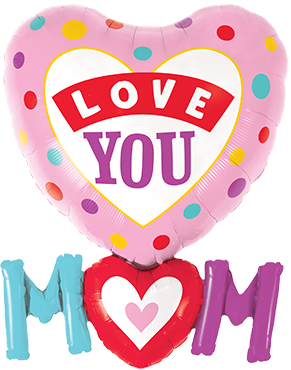 Love You M(Heart)M Dots Foil Shape 33in/84cm