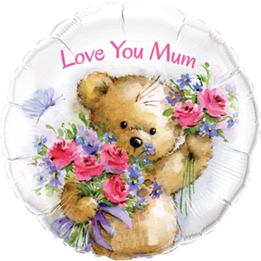 Love You Mum Teddy Bear Foil Round 18in/45cm