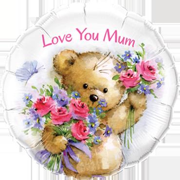 Love You Mum Teddy Bear Foil Round 18in/45cm