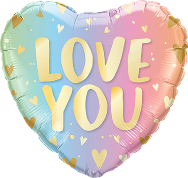Love You Pastel Ombre and Hearts Foil Heart 18in/45cm