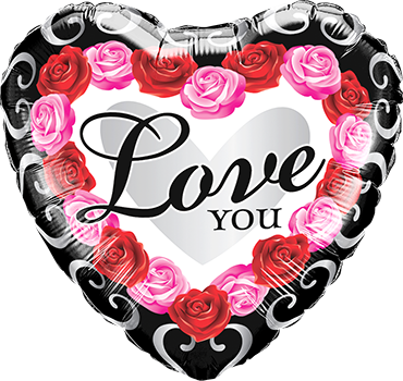 Love You Red Rose Frame Foil Heart 18in/45cm