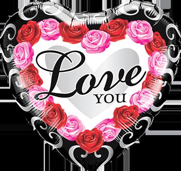 Love You Red Rose Frame Foil Heart 18in/45cm