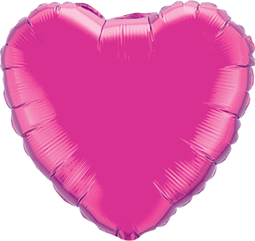 Magenta Foil Heart 9in/22.5cm