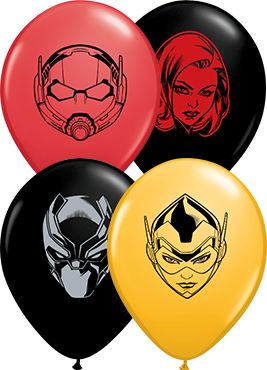 Marvel's Characters Faces Fashion Goldenrod, Standard Red and Fashion Onyx Black Assortment Latex Round 5in/12.5cm