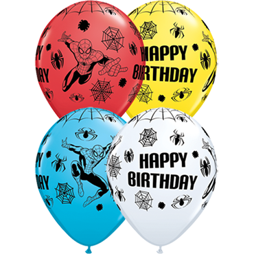 Marvel's Ultimate Spider-Man Birthday Standard White, Standard Red, Standard Yellow and Fashion Robins Egg Blue Assortment Latex Round 11in/27.5cm
