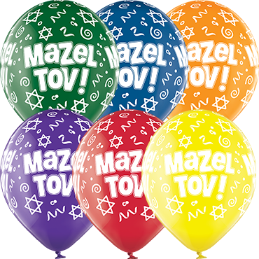 Mazel Tov Crystal Green, Crystal Yellow, Crystal Orange, Crystal Royal Red, Crystal Quartz Purple and Crystal Blue Assortment (Transparent) Latex Round 12in/30cm