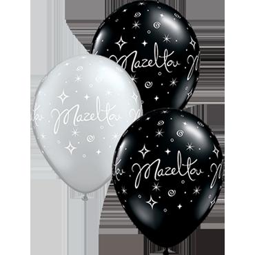 Mazel Tov Sparkles and Swirls Fashion Onyx Black and Metallic Silver Assortment Latex Round 11in/27.5cm