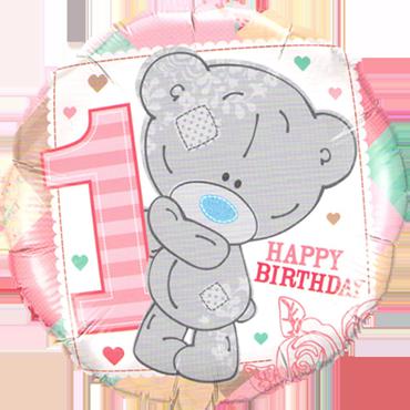 Me To You - Tiny Tatty 1st Birthday Girl Foil Round 18in/45cm