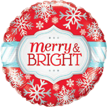 Merry and Bright Snowflakes Foil Round 18in/45cm