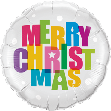 Merry Christmas Colours Foil Round 18in/45cm
